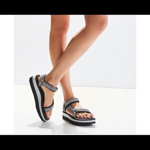 Black And White Platform Teva Sandals